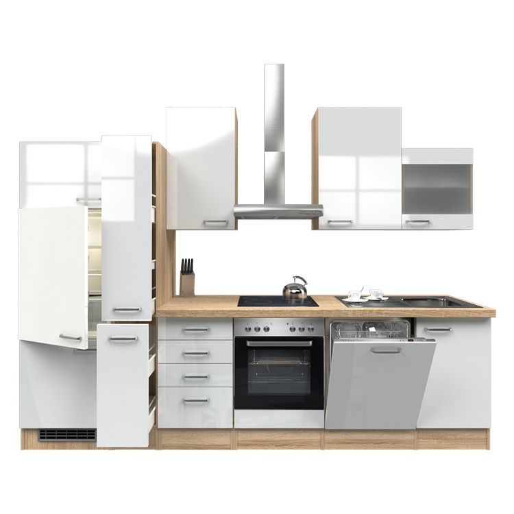 Küchenzeile Torge – Einbaugeräte – Spüle – 310 cm – Hochglanz Weiß – Eiche Sonoma Dekor, Modus Küchen jetzt kaufen
