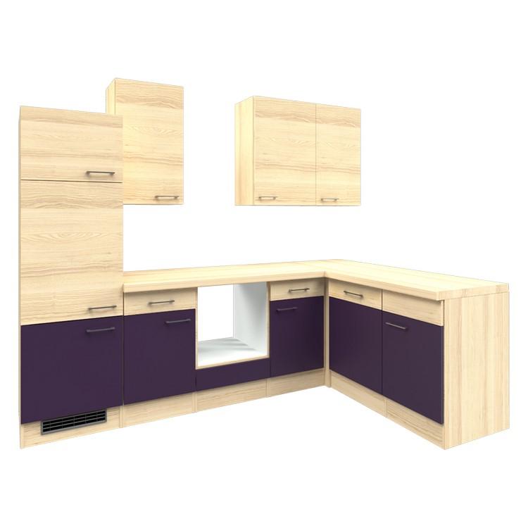 Küchenzeile Winny – Leerblock – 280×170 cm – Aubergine – Akazien Dekor, Modus Küchen günstig kaufen
