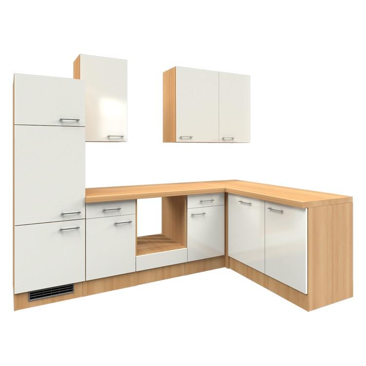 Küchenzeile Winny – Leerblock – 280×170 cm – Perlglanz Softwhite – Buche Dekor, Modus Küchen günstig online kaufen