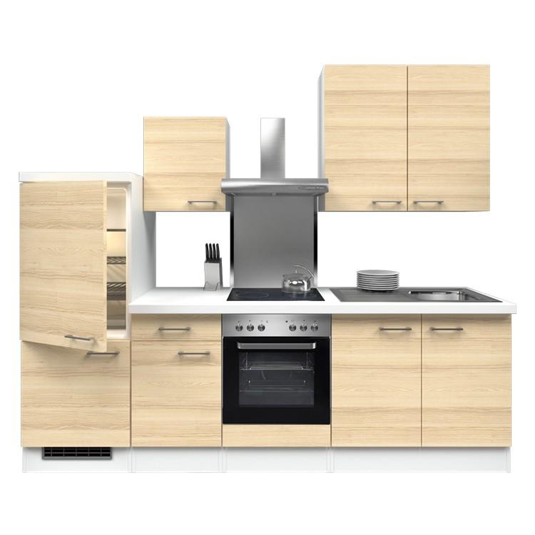 Küchenzeile Yves – Einbaugeräte – Spüle – 270 cm – Akazien Dekor – Weiß / Weiß, Modus Küchen online bestellen