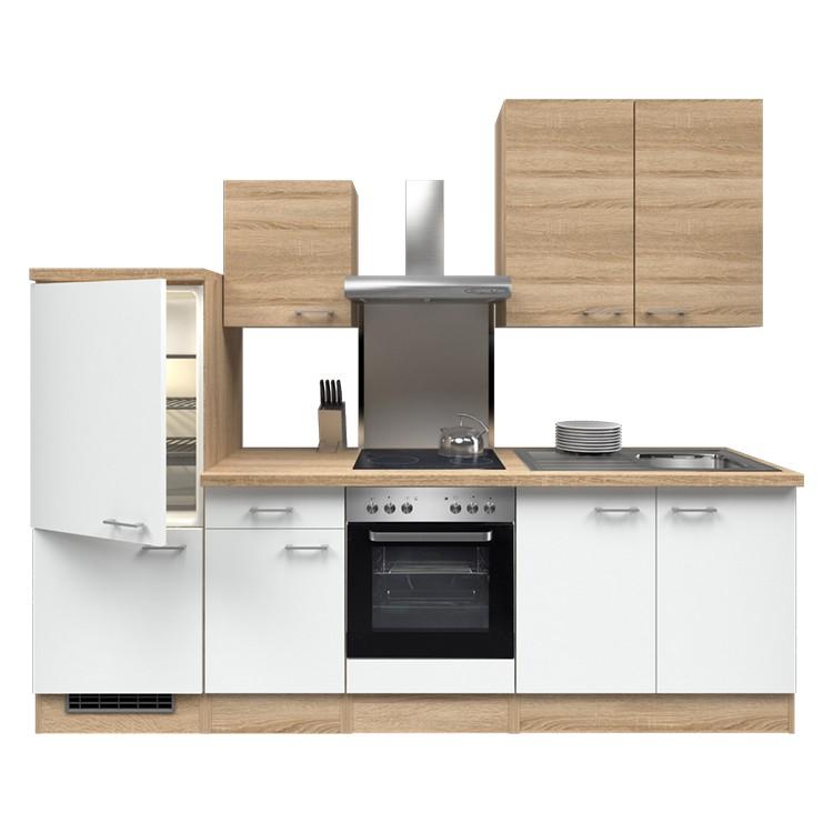 Küchenzeile Yves – Einbaugeräte – Spüle – 270 cm – Eiche Sonoma Dekor / Weiß – Eiche Sonoma Dekor, Modus Küchen günstig kaufen