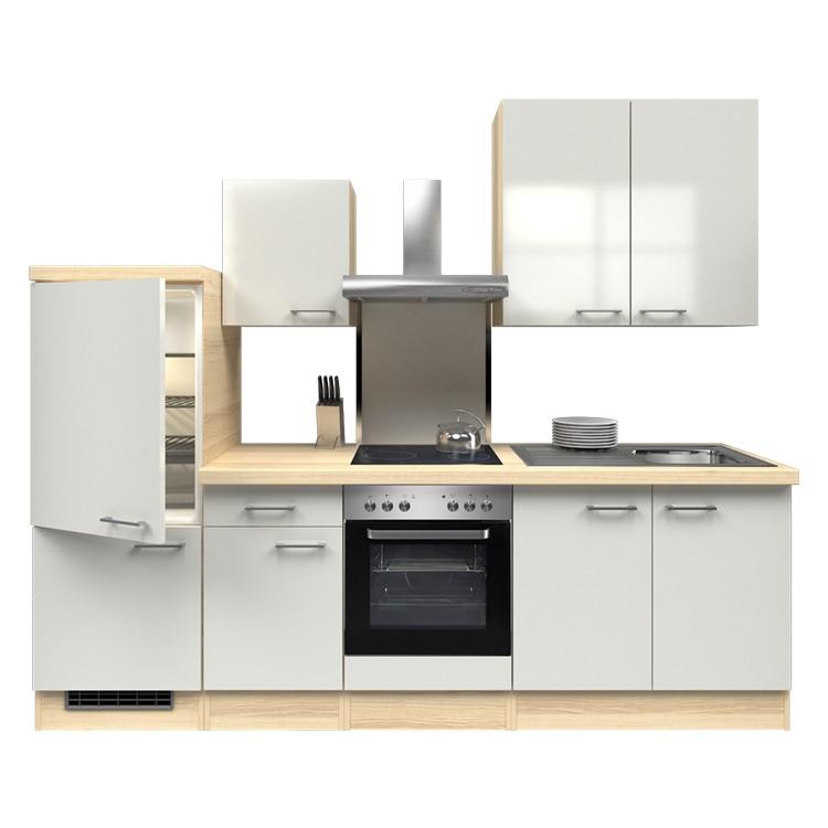 Küchenzeile Yves – Einbaugeräte – Spüle – 270 cm – Perlglanz Softwhite – Akazien Dekor, Modus Küchen jetzt kaufen