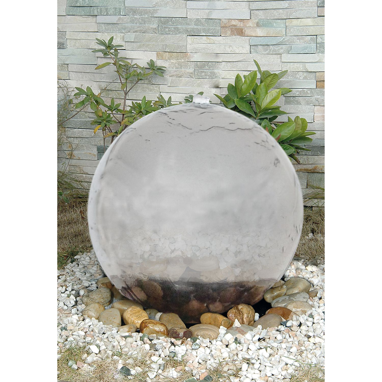 LED-Außen-Brunnen Ø40cm 4-flammig ● Silber Kunststoff- Näve A+
