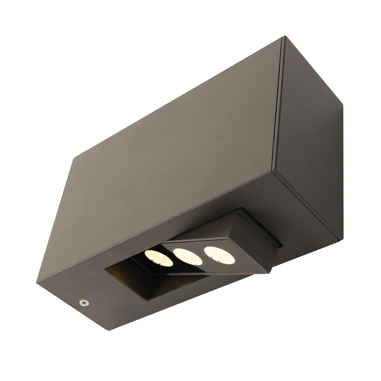 EEK A+, LED-Außen-Wandleuchte 3-Eye 3-flammig - Grau Aluminium, Näve