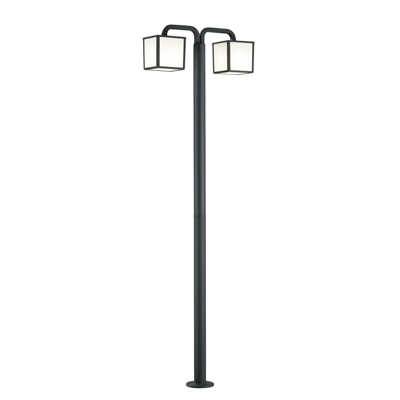 EEK A++, LED-Außenleuchte Cubango 2-flammig - Aluminium Kunststoff - Silber, Trio
