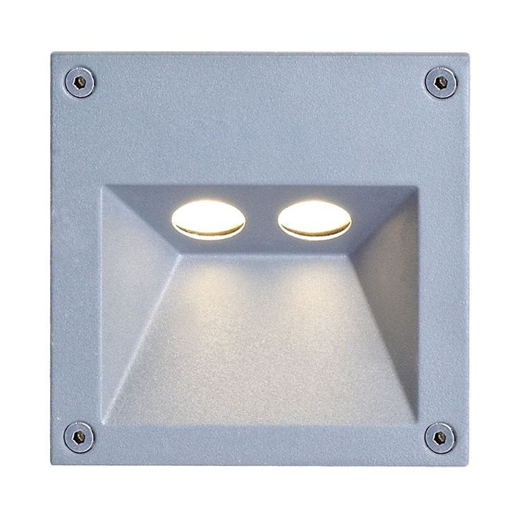 EEK A+, LED Außenwandleuchte Rectangle 2-flammig - Silber Aluminium, Näve