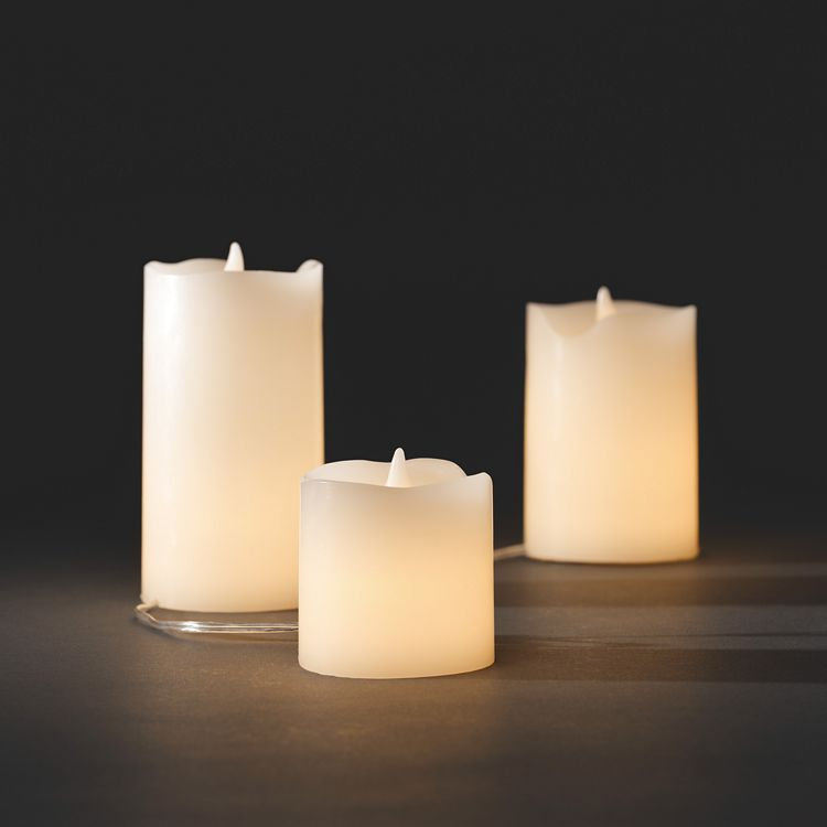 LED Echtwachskerzen (3er-Set) ● Echtwachs/Kunststoff/Kupfer ● Leuchtfarbe: Warm weiß- Konstsmide