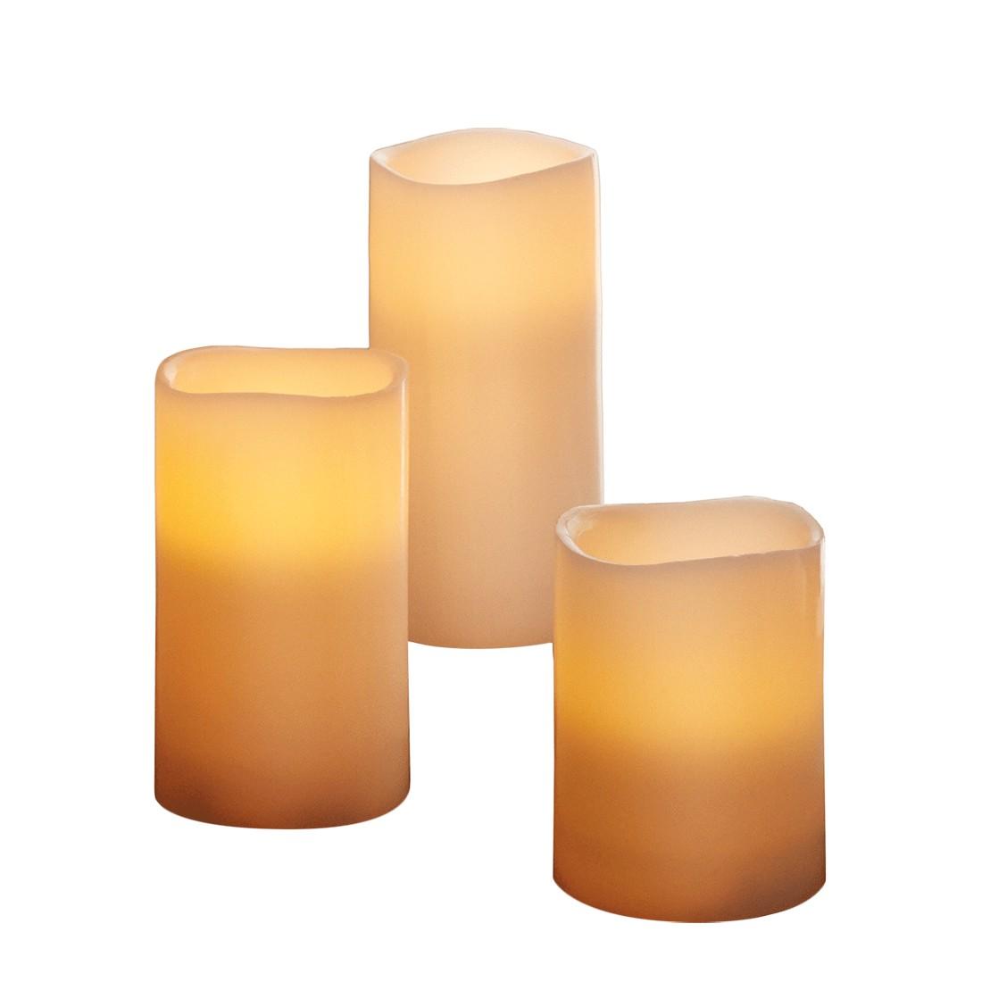 EEK A+, LED Kerzen 3-teilig - Wachs, Beige, Pure Day