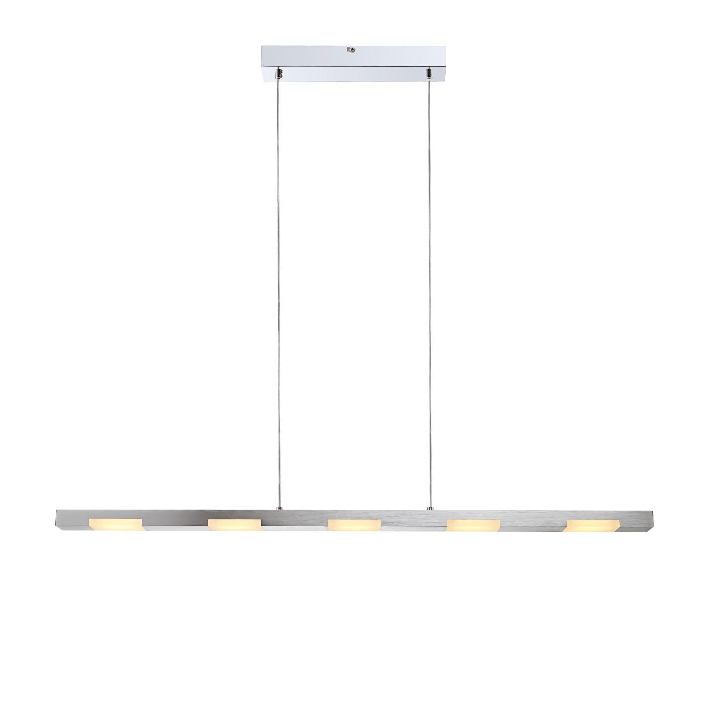 LED-Pendelleuchte 5-flammig ● Silber Metall- verchromt- Globo Lighting A+