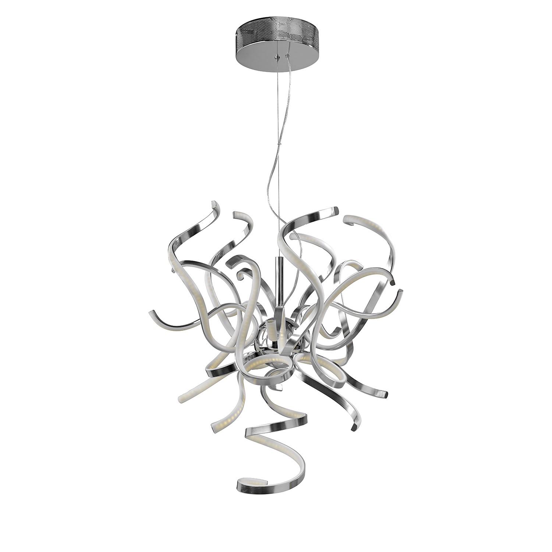 EEK A+, LED-Pendelleuchte Weed - Aluminium/Silikon - Silber Satin, Sompex