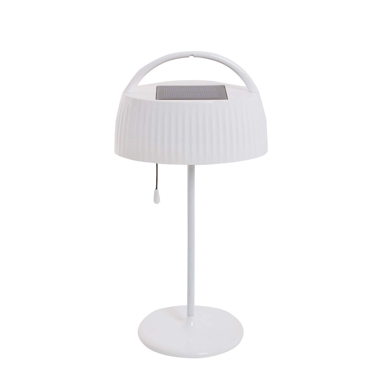 EEK A+, LED-Solar-Außen-Tischleuchte 1-flammig - Weiß Metall, Näve