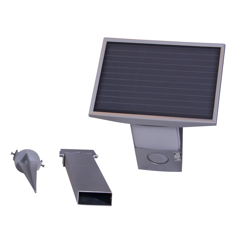 EEK A+, LED-Solar-Erdspieß Bewegungsmelder 8-flammig - Grau Metall, Näve