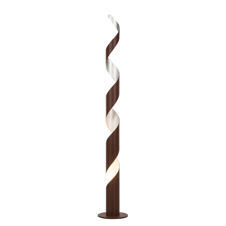 LED-Stehleuchte Lurimas ● Metall ● Braun / Blattsilber ● 1-flammig- Lampadina A+