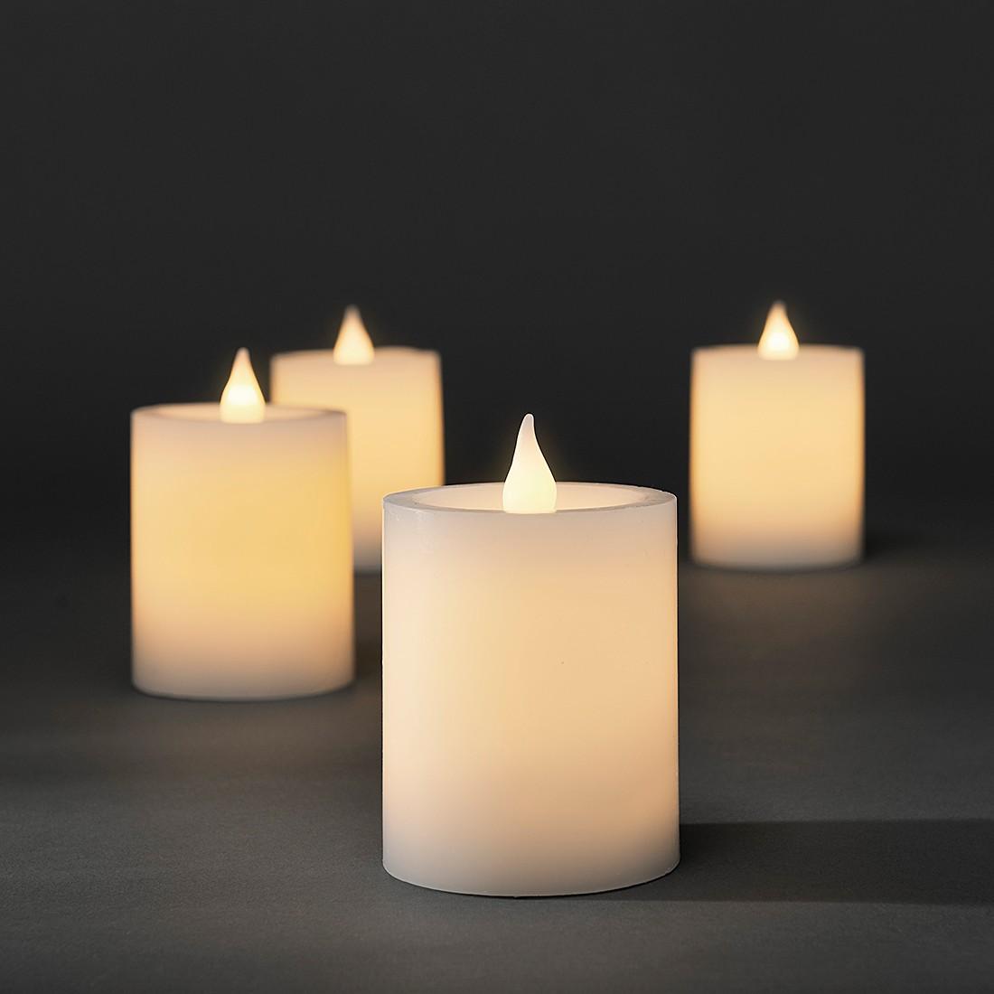 EEK A+, LED Weiße Echtwachskerzen 4er-Set – 8 Weiß flackernde Dioden – batteriebetrieben, Konstsmide günstig bestellen