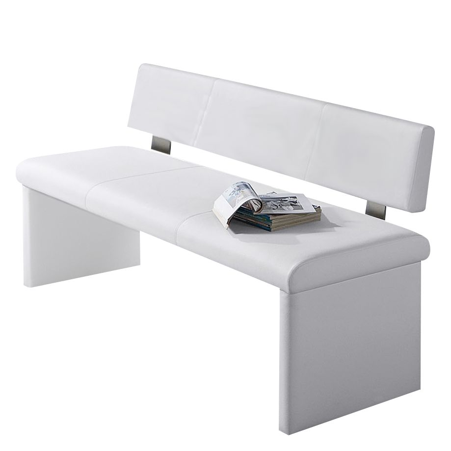 Lederbank Turin – Polster/Kunstleder – Weiß – Modell 2 – Breite 180 cm, Tollhaus jetzt bestellen