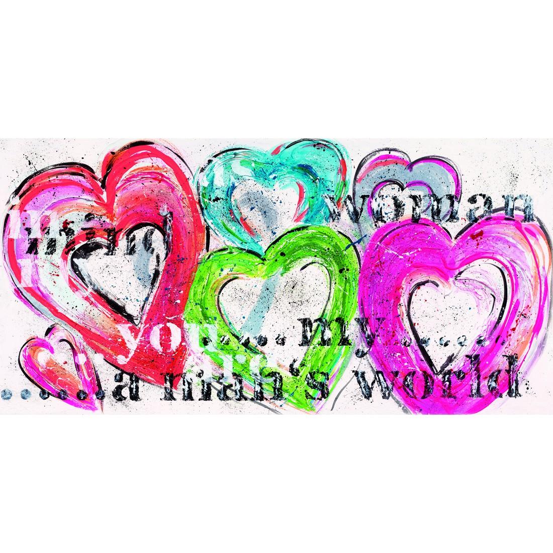 Leinwandbild Big Hearts -Rot, Rosa, Weiss, Bönninghoff günstig online kaufen