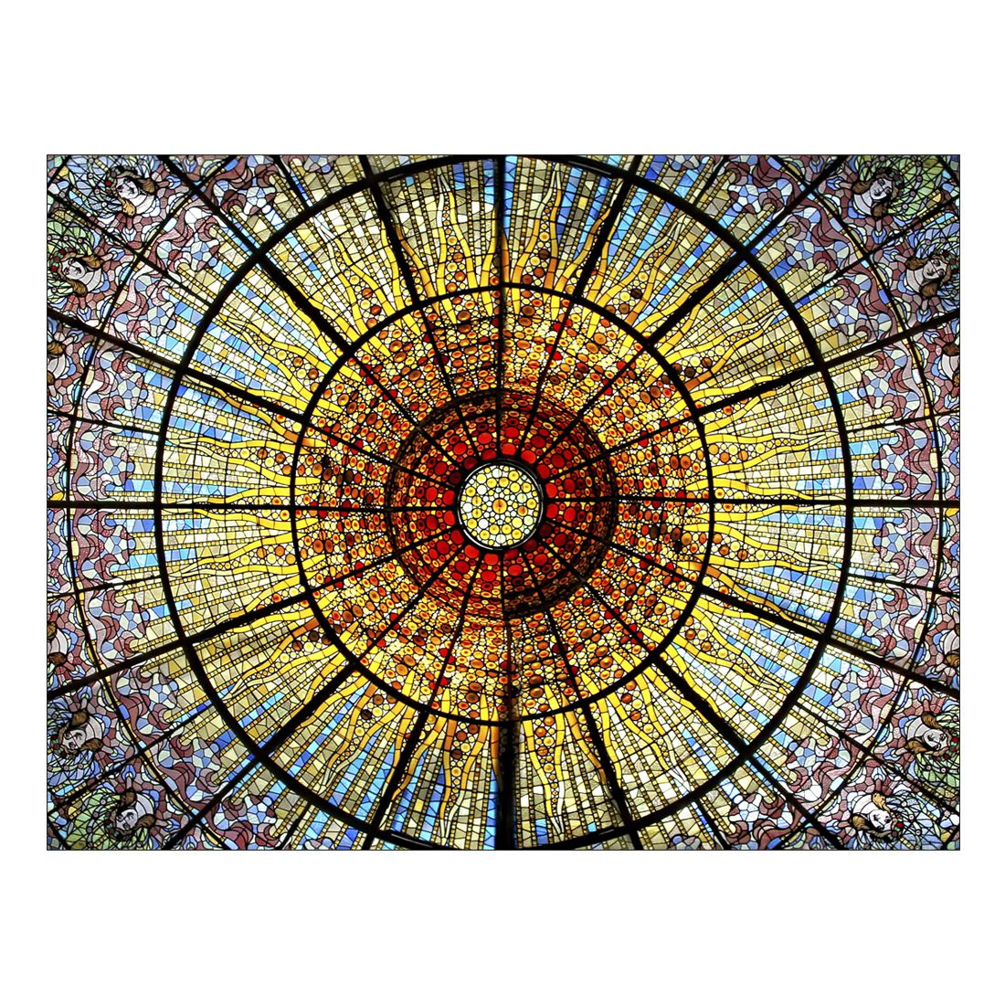 Leinwandbild COLOURFUL CHURCH ROOF – Abmessung 100 x 75 cm, Gallery of Innovative Art günstig