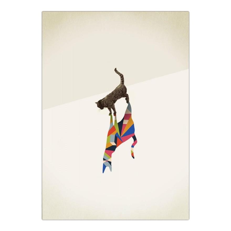 Leinwanddruck Walking Shadow – Cat von Jason Ratliff – Größe: A5 (21 x 15 cm), Juniqe günstig kaufen
