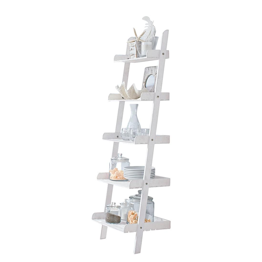 Leiterregal – Tannenholz – Weiß, PureDay günstig online kaufen
