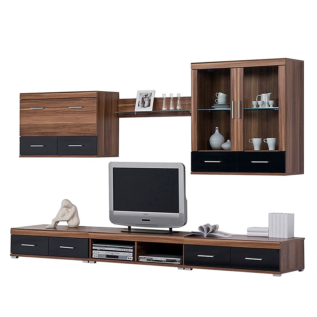 wohnwand leo iii ohne beleuchtung walnuss dekor. Black Bedroom Furniture Sets. Home Design Ideas