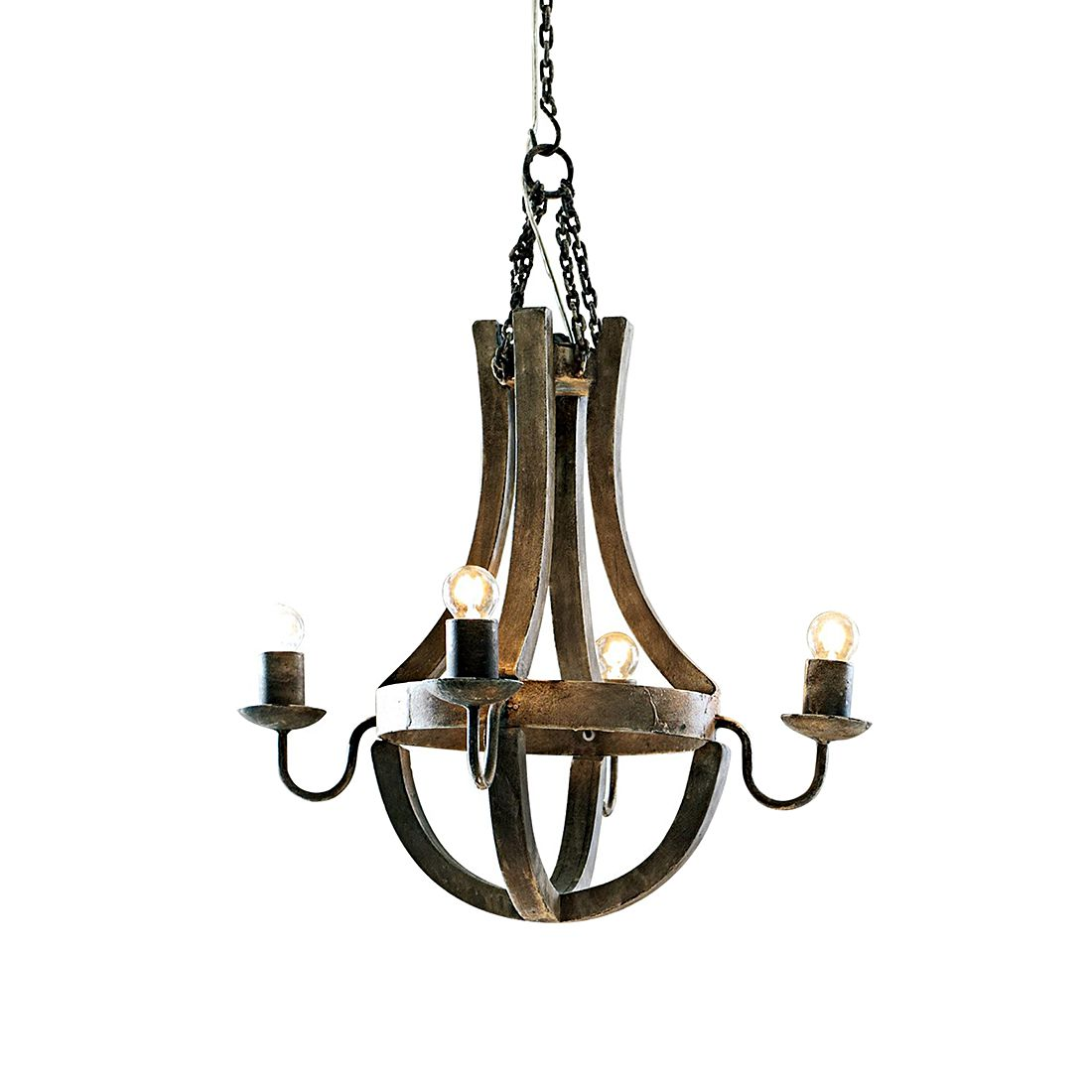 Leuchter Aspen – Holz, Lampenhalter: Eisen natur, Loberon günstig