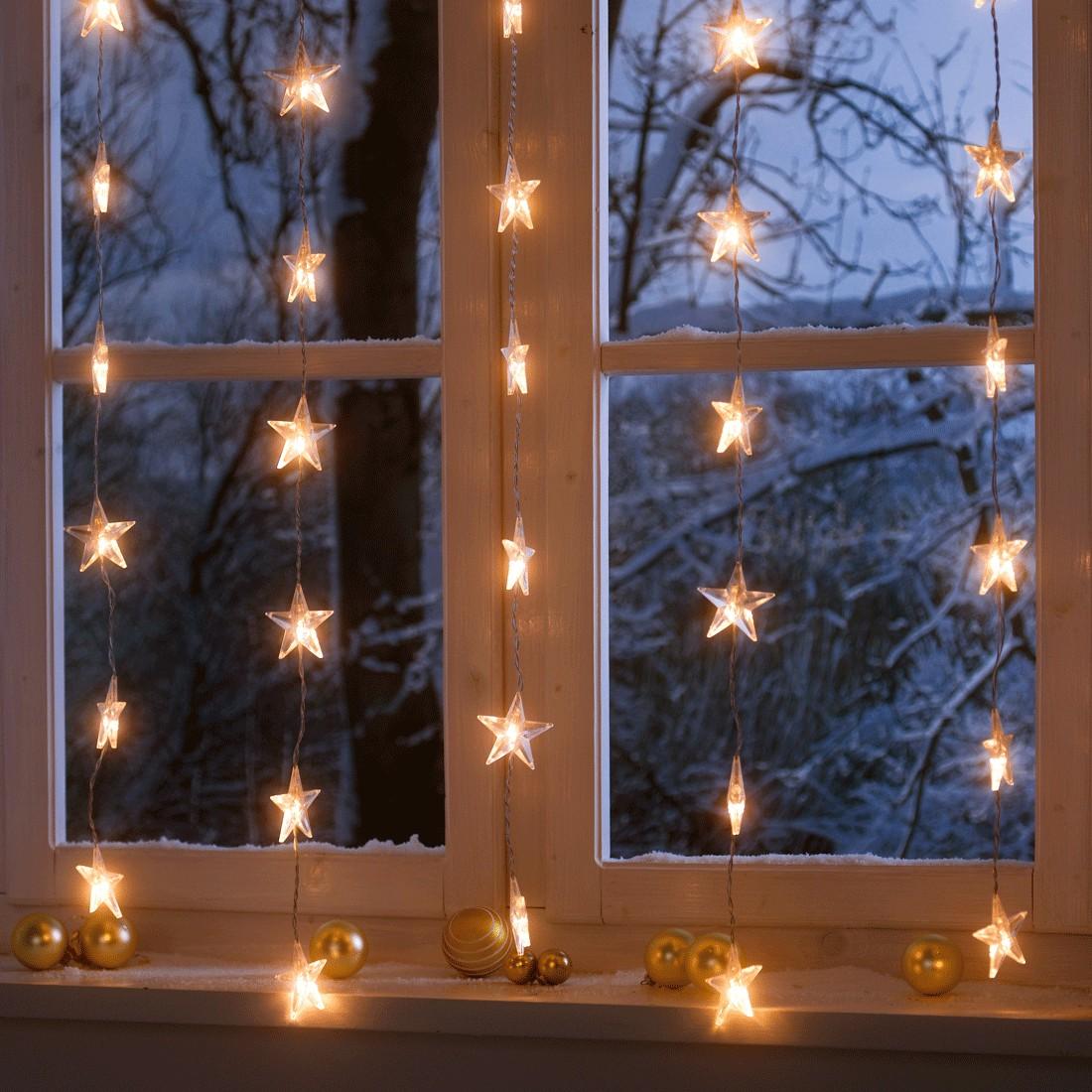 Lichterkette Sternenvorhang ● Kunststoff ● Weiß- Pure Day