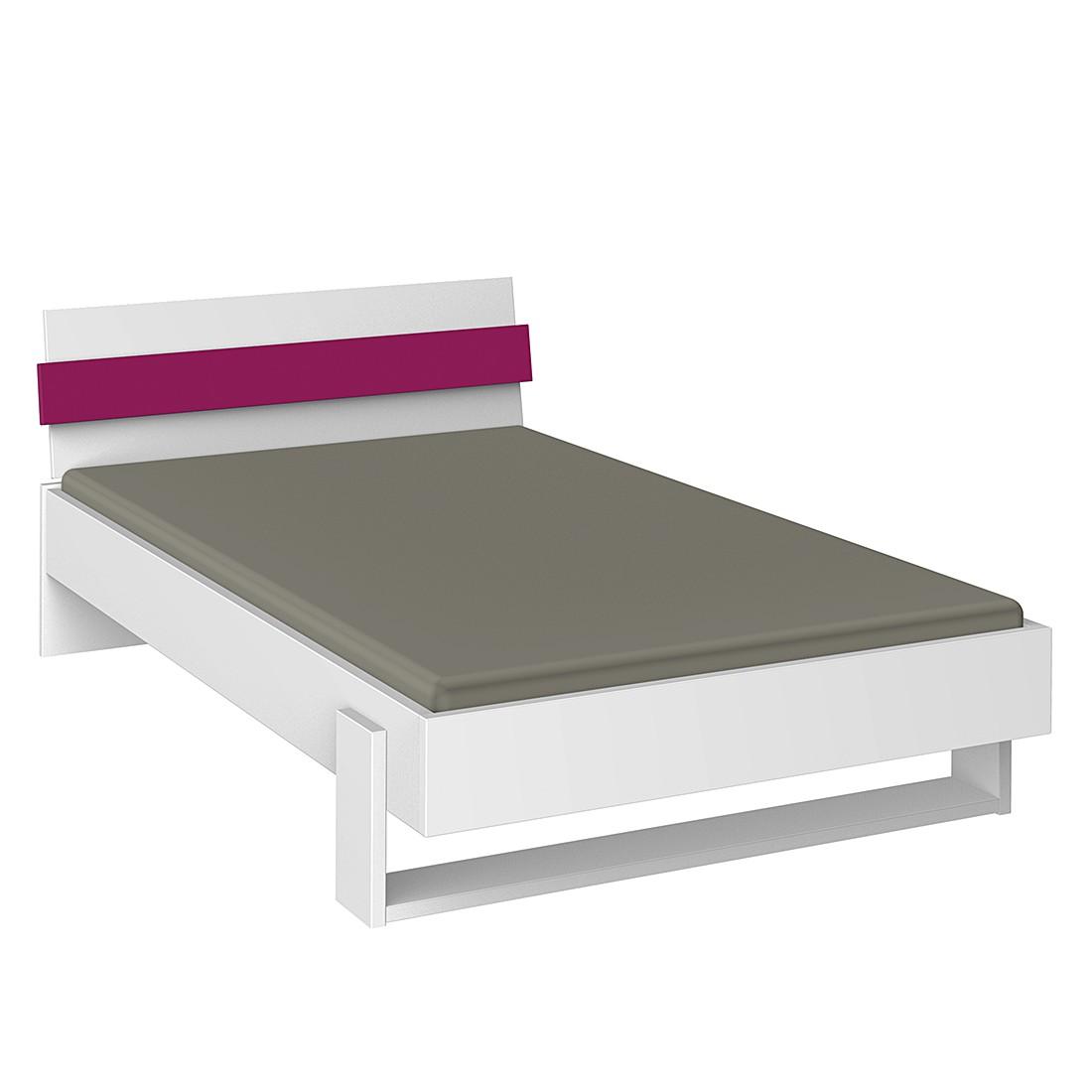 jugendbett hilight 140 x 200cm kein nachttisch wei pink r hr g nstig. Black Bedroom Furniture Sets. Home Design Ideas