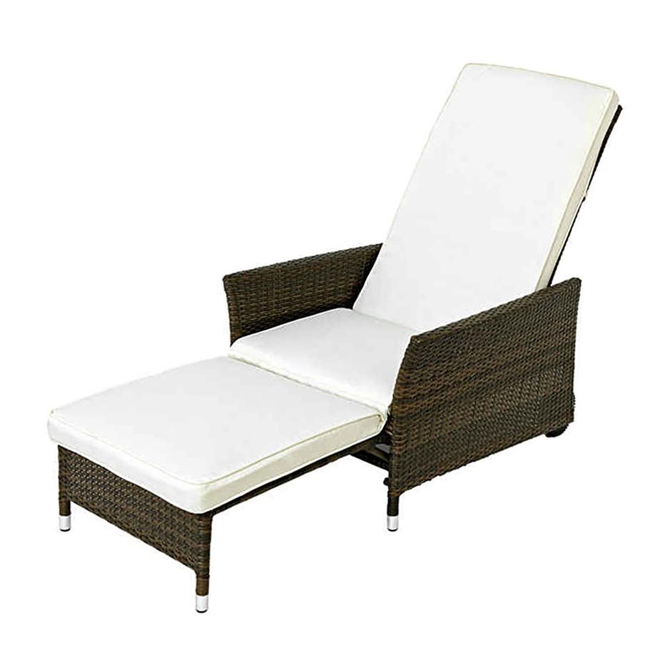 Liegesessel Komfort - inkl. Auflage - Polyrattan/Polyester - Braun/Cremeweiß, Merxx