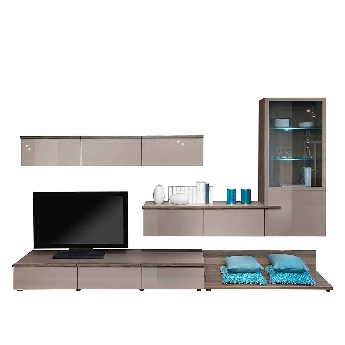 linea w wohnwand 5 teilig steingrau steingrau hochglanz esche dunkel. Black Bedroom Furniture Sets. Home Design Ideas