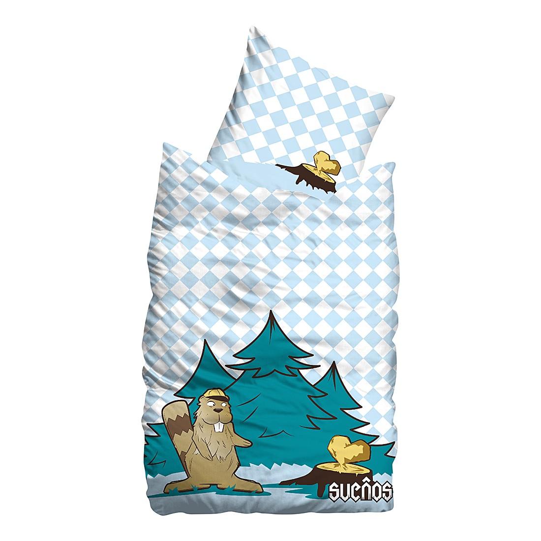 Linon Bettwäsche Beaver – Türkis – 155 x 220 cm + Kissen 80 x 80 cm, Sueños jetzt bestellen