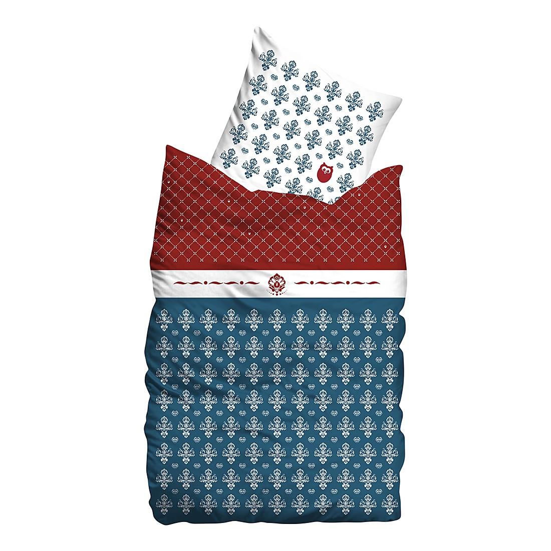 Linon Bettwäsche Flourish – Marineblau – 155 x 220 cm + Kissen 80 x 80 cm, Sueños günstig bestellen