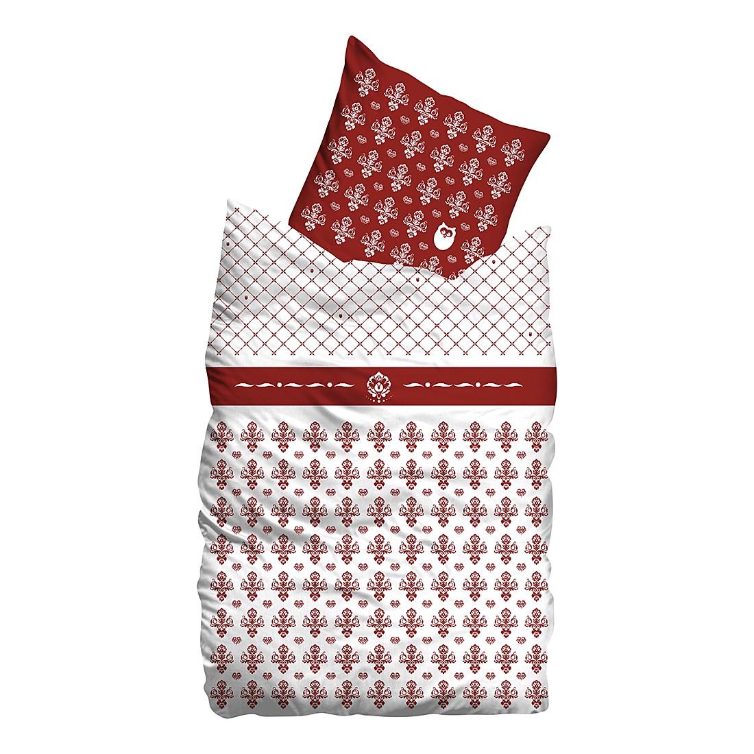Linon Bettwäsche Flourish - Weiß / Rot - 135 x 200 cm + Kissen 80 x 80 cm, Suenos