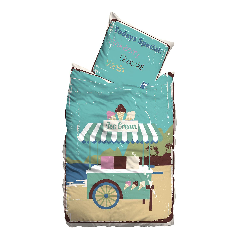 Linon-Bettwäsche Ice Cream - 155 x 220 cm + Kissen 80 x 80 cm, Suenos