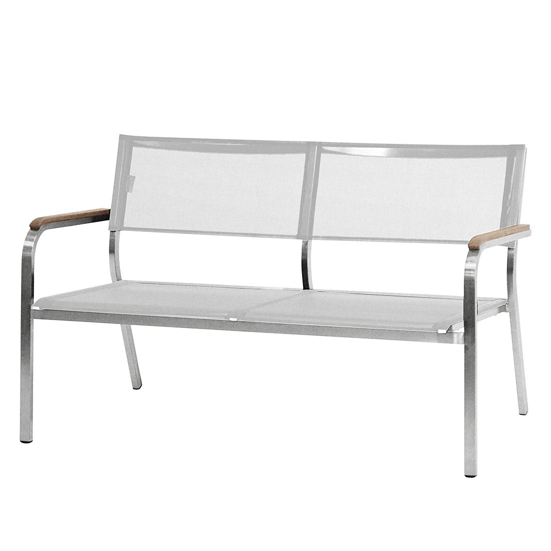 Lounge-Bank Lux XL - Edelstahl/Batyline®/Teak massiv - Weiß - 126 x 75 cm, Jan Kurtz
