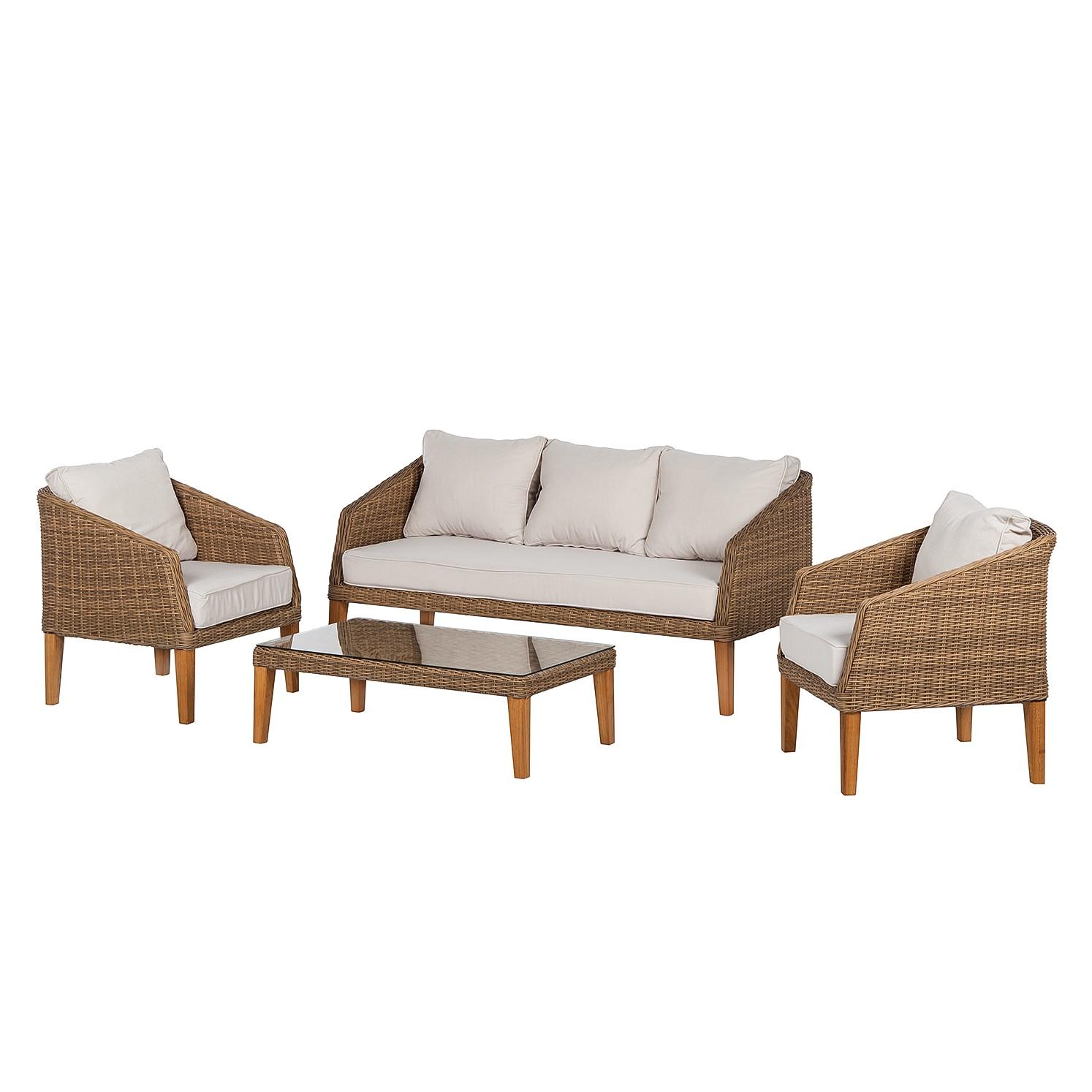 lounge set cremona 4 teilig polyrattan hellbraun. Black Bedroom Furniture Sets. Home Design Ideas