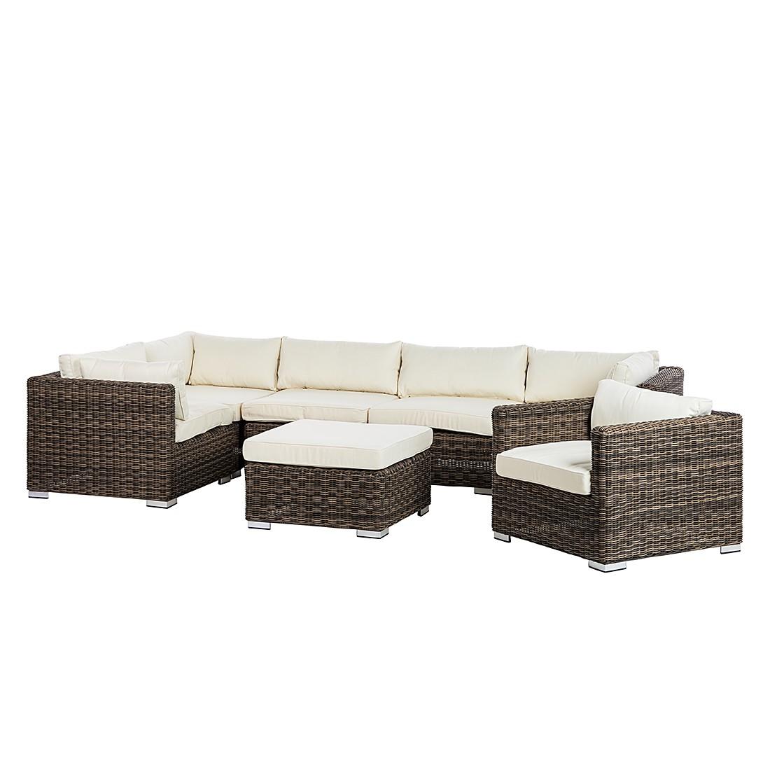 Lounge-Set Royal Comfort (7-teilig) - Polyrattan/Textil - Braun/Beige, Chateau Garden