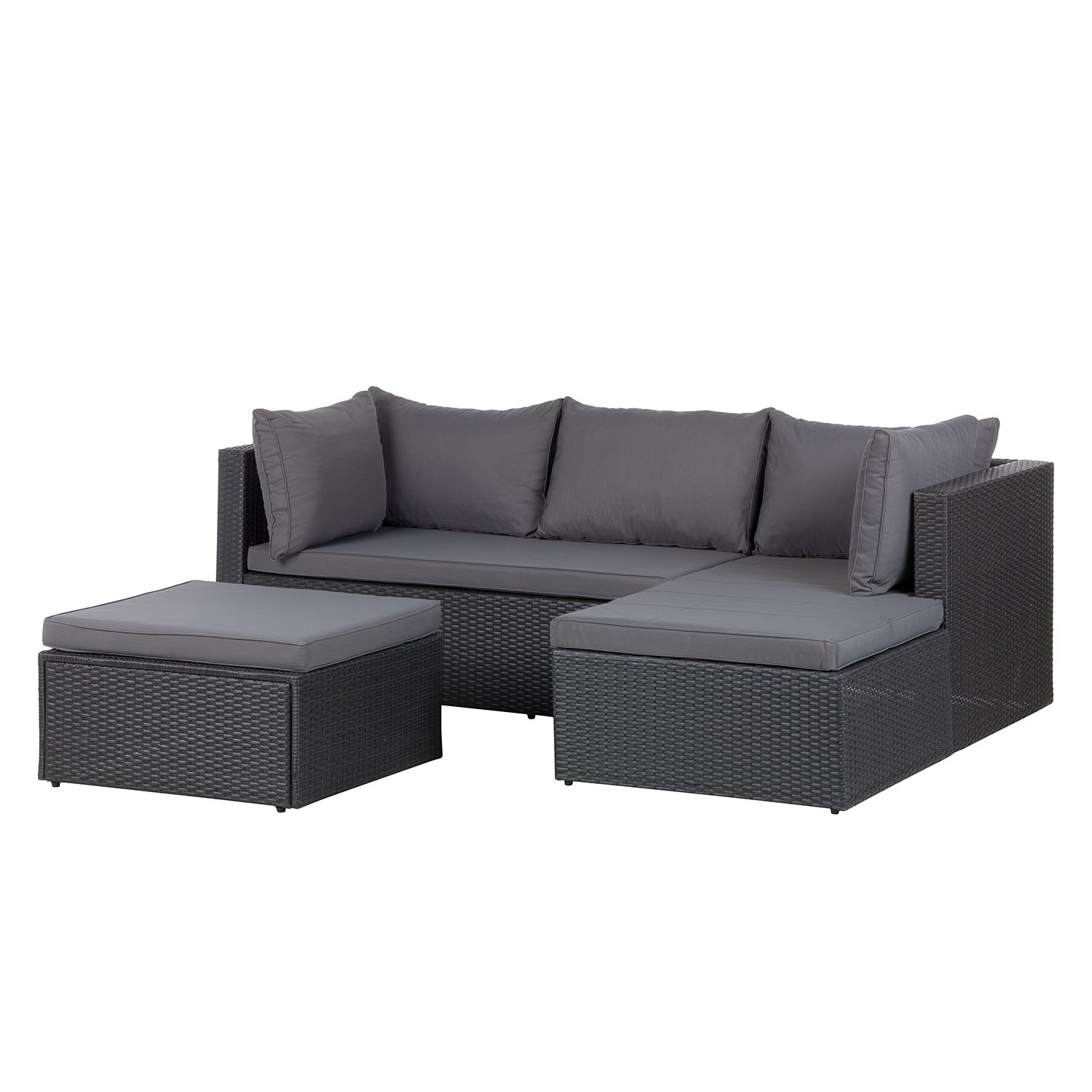 loungeset paradise lounge i 3 teilig polyrattan grau kings garden online kaufen. Black Bedroom Furniture Sets. Home Design Ideas