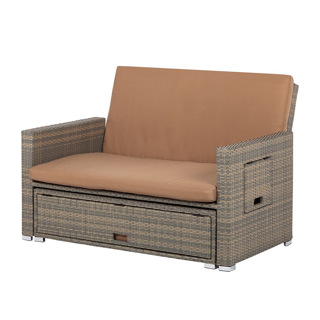 loungesofa muuse mit schlaffunktion polyrattan anthrazit cognac ebay. Black Bedroom Furniture Sets. Home Design Ideas