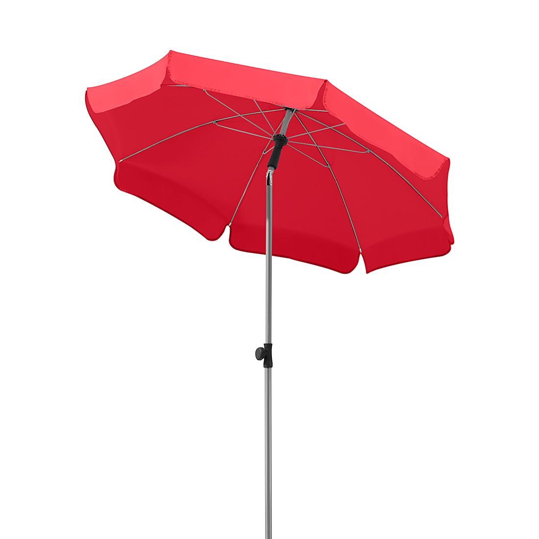 Lugano 150 Sonnenschirm - Stahl/Polyester - Silber/Rot, Schneider Schirme