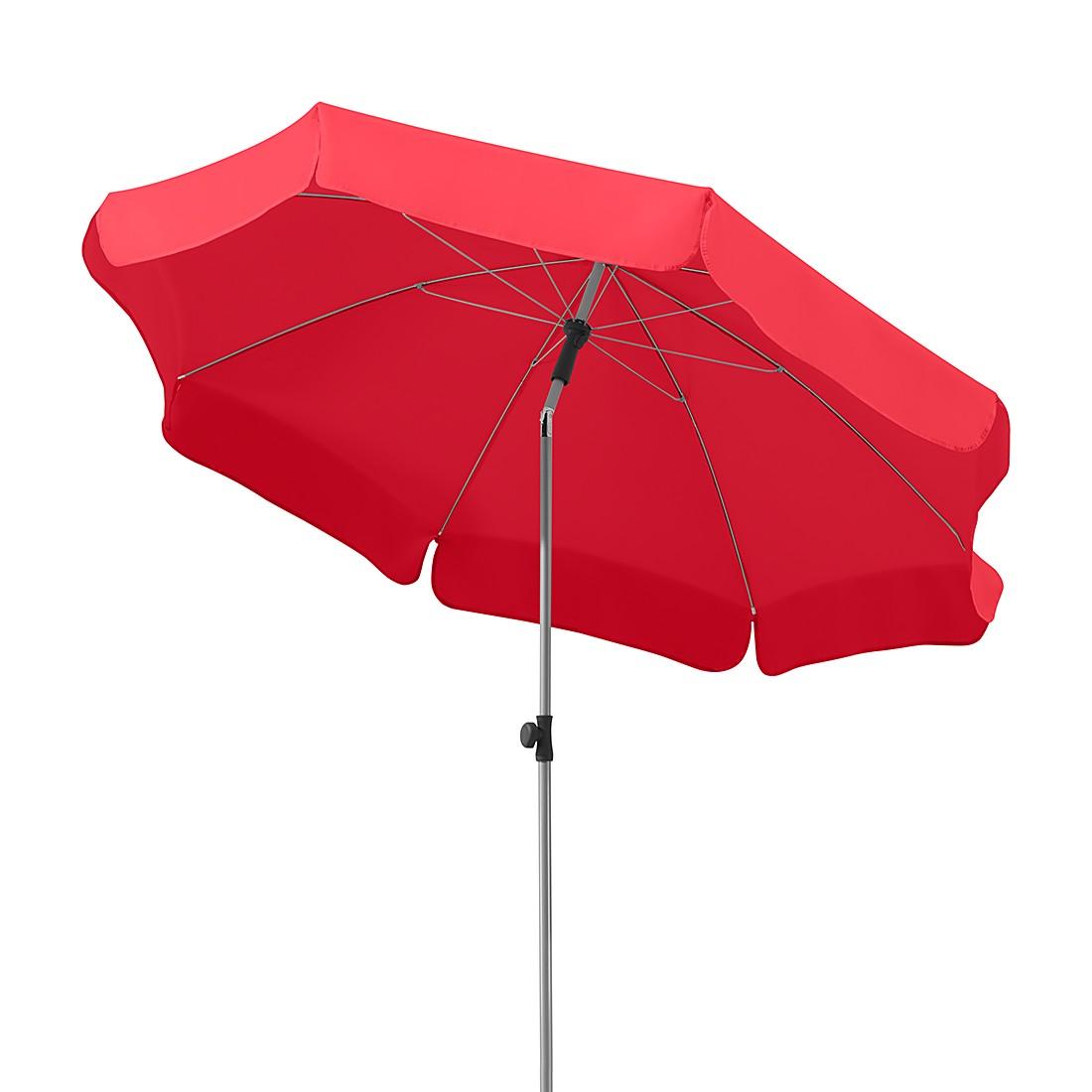 Lugano 200 Sonnenschirm - Stahl/Polyester - Silber/Rot, Schneider Schirme