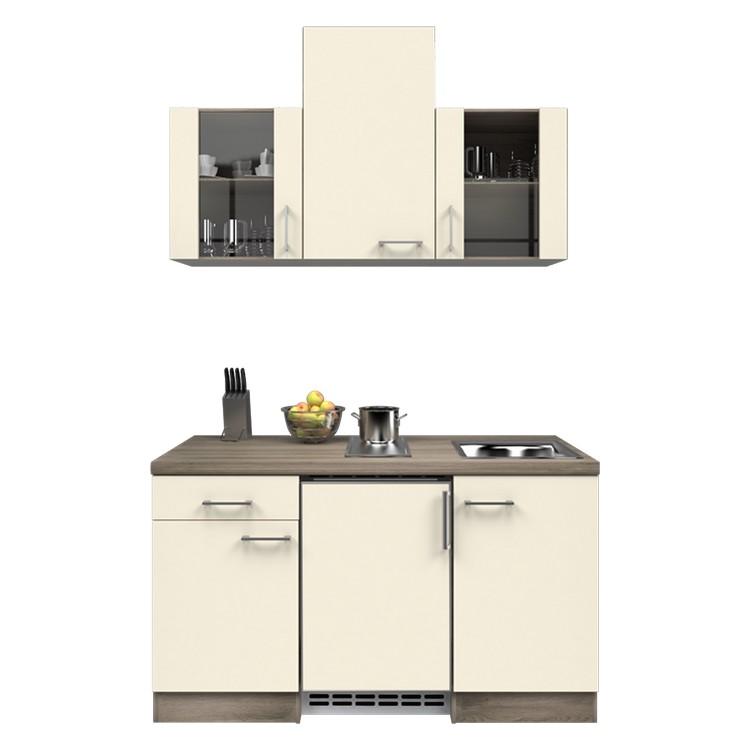 Küchenzeile Nico – Einbaugeräte – Spüle – 150 cm – Magnolienweiß – Eiche Dekor, Modus Küchen online bestellen