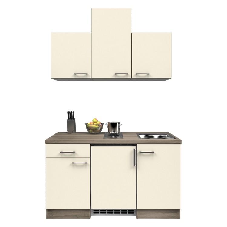 Küchenzeile Barinas – Einbaugeräte – Spüle – 150 cm – Magnolienweiß – Eiche Dekor, Modus Küchen günstig