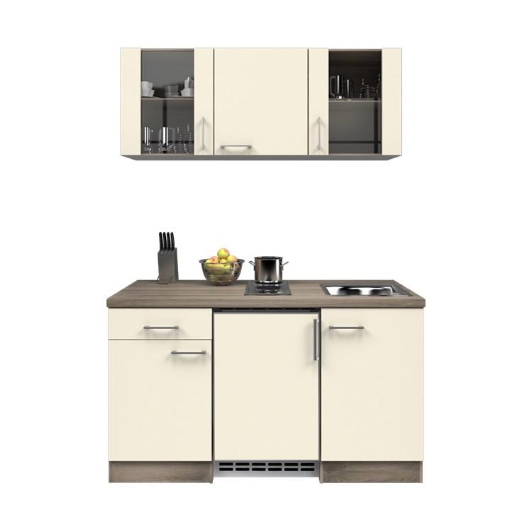 Küchenzeile Ole – Einbaugeräte – Spüle – 150 cm – Magnolienweiß – Eiche Dekor, Modus Küchen günstig kaufen