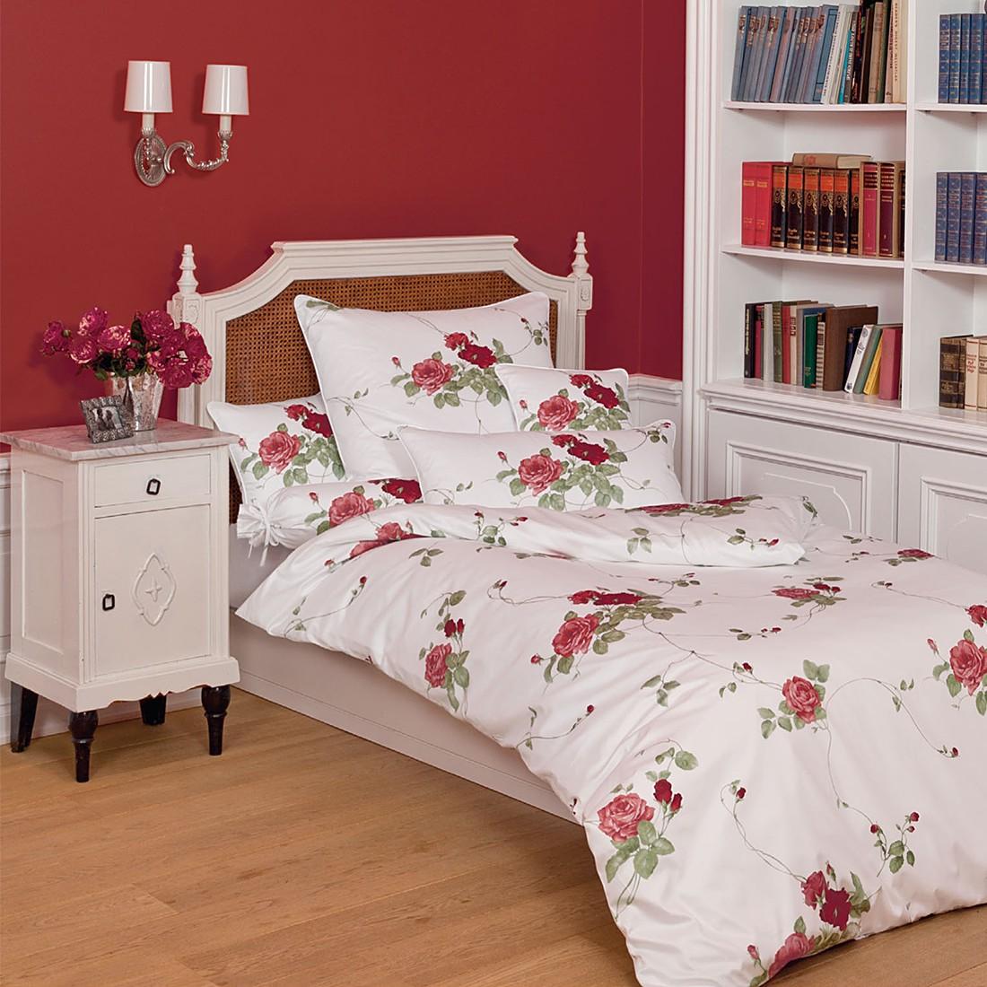 Mako-Satin-Bettwäsche ROMANTICO – Rote Rosen – 135 cm x 200 cm, Janine jetzt kaufen