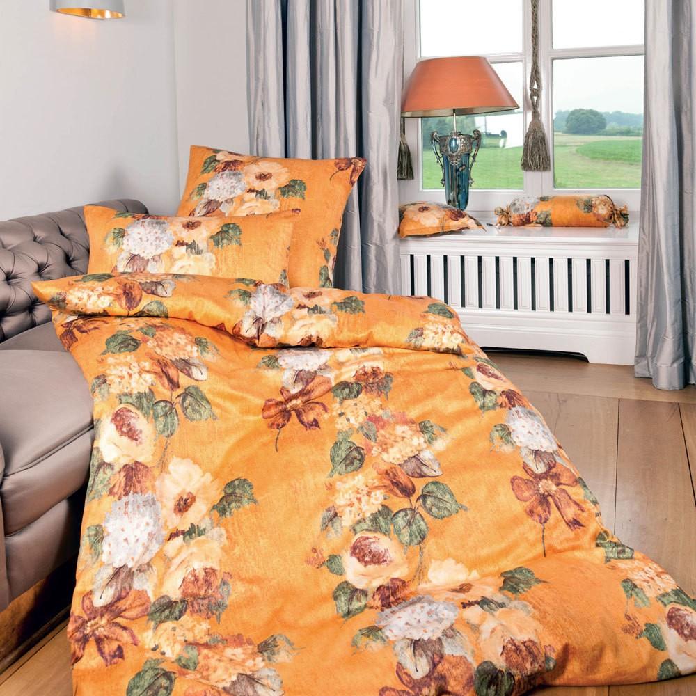 Mako-Satin Villa Fiori Orange 4441 – 100% Baumwolle – Mehrfarbig – 155 x 220 cm, Janine kaufen