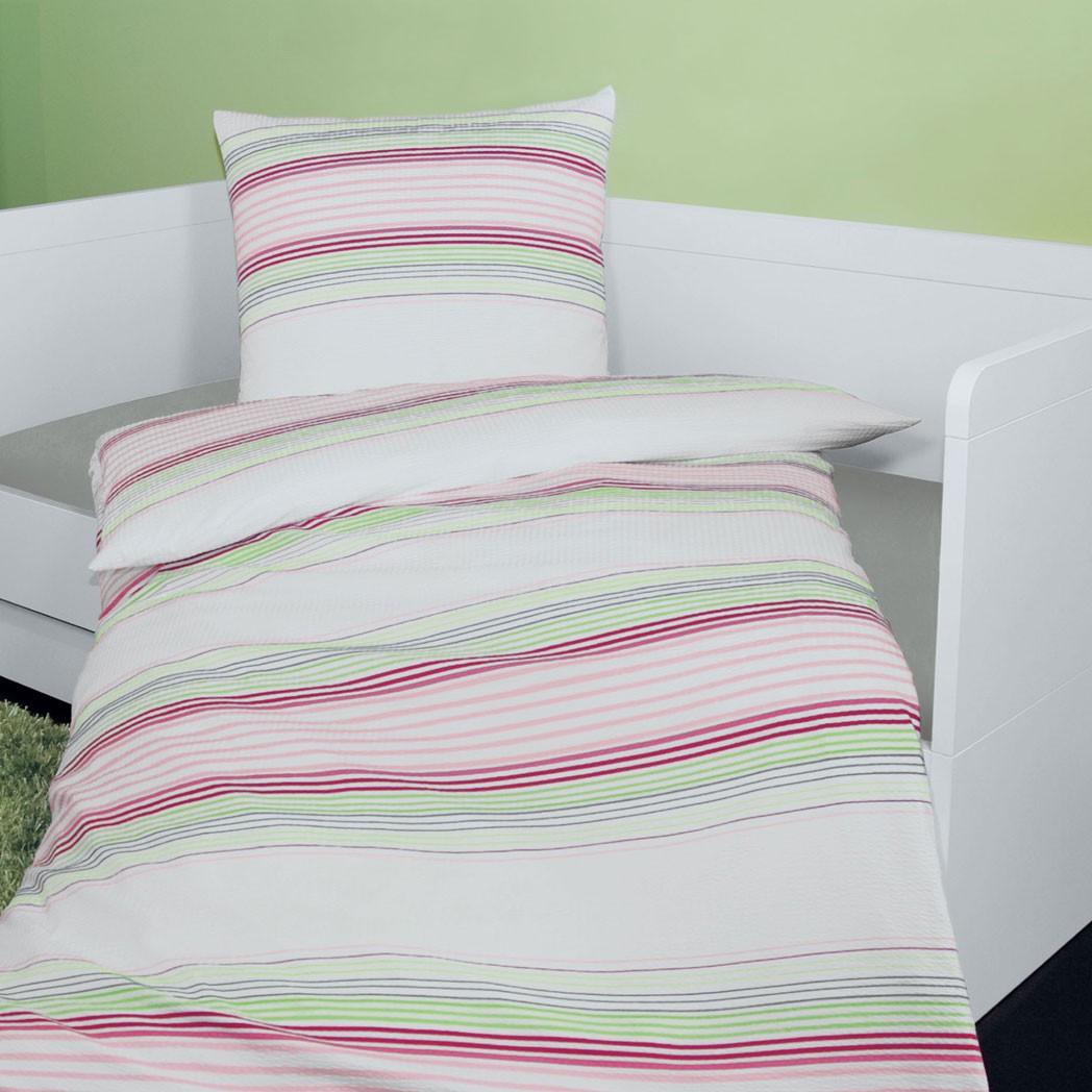 Mako-Soft-Seersucker Bettwäsche Tango 2357 – 100% Baumwolle Mehrfarbig – Ausführung 135×200 cm + 80×80 cm, Janine bestellen