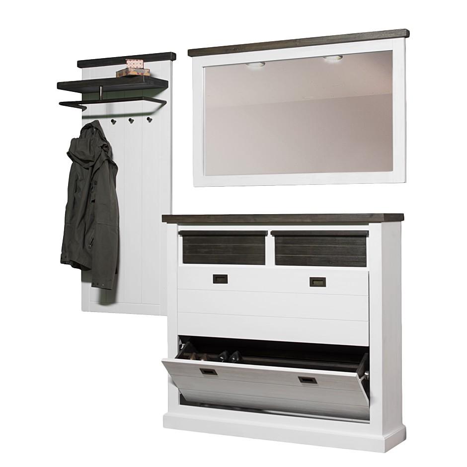 Massivholz Garderobenset Campane (3-teilig) – Weiß/Braun – Wandgarderobe, Schuhschrank und Spiegel, Maison Belfort günstig bestellen