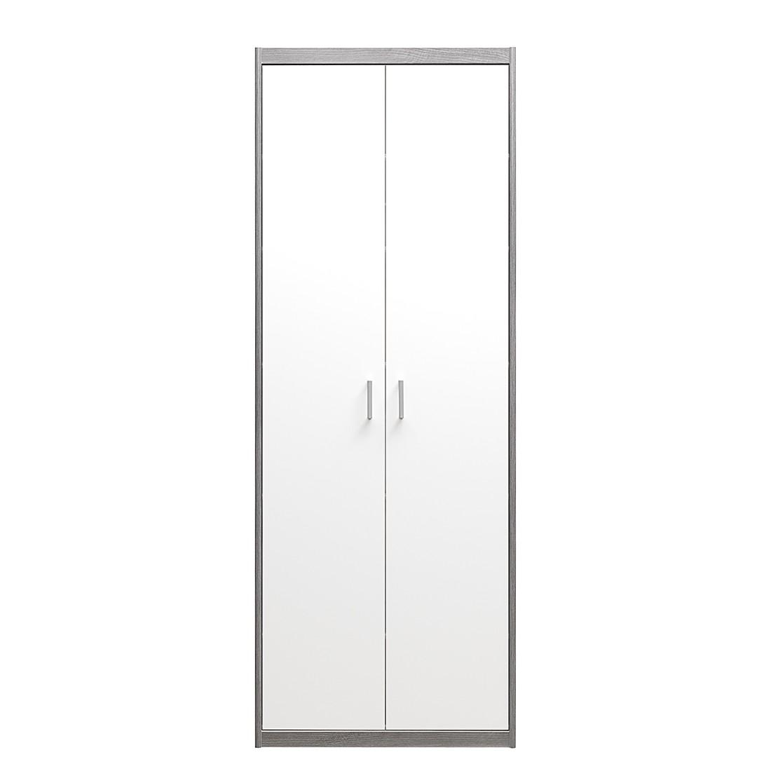 Mehrzweckschrank Soft Plus I - Silbereiche Dekor/Hochglanz Weiß