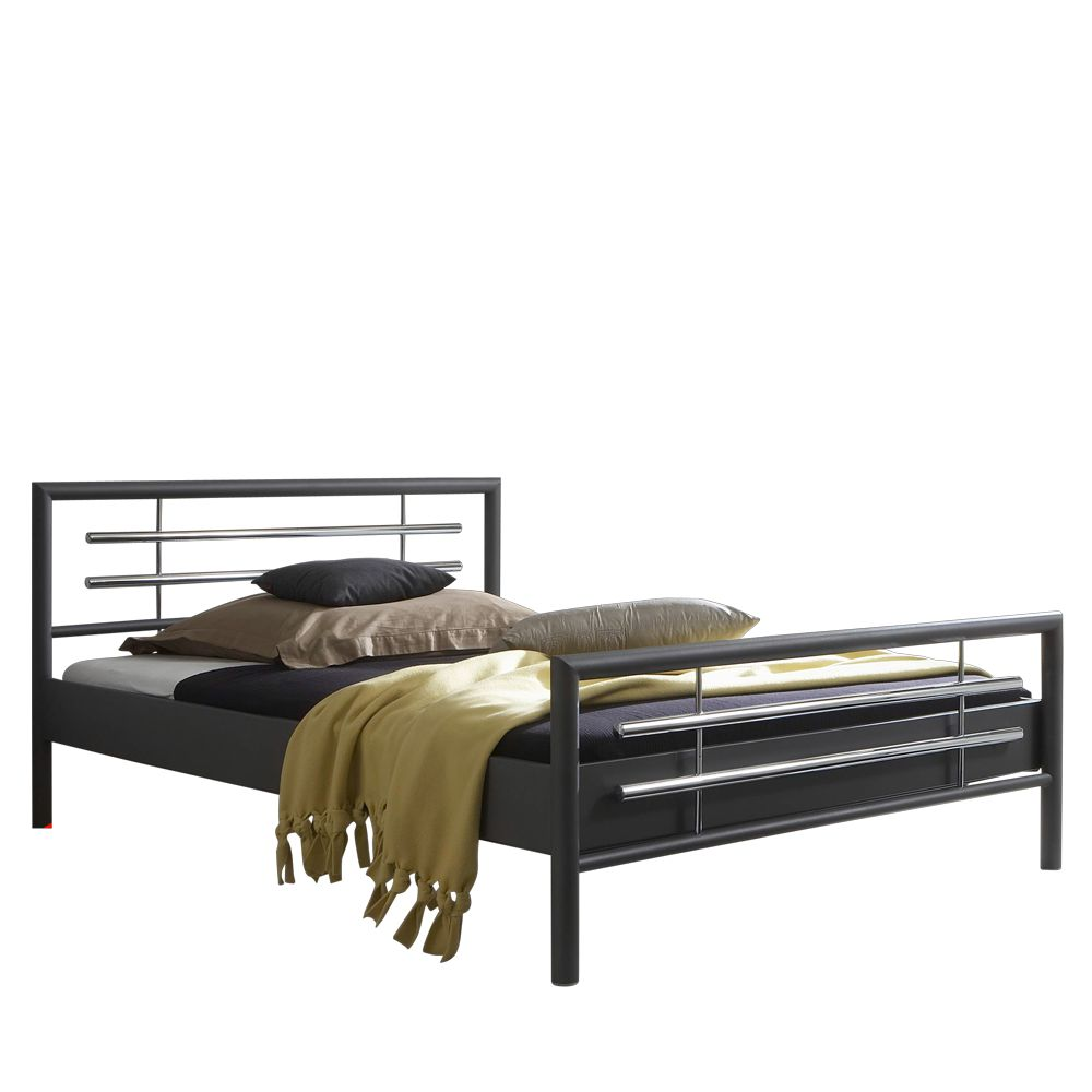 metallbett eliah dunkelgrau titanfarbig hochglanz. Black Bedroom Furniture Sets. Home Design Ideas