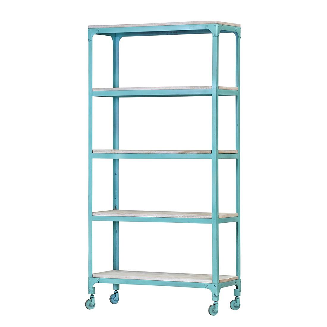 metallregal storm hellblau lackiert mit 5 b den. Black Bedroom Furniture Sets. Home Design Ideas